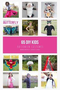 Collage photo of 65 diy kids halloween costumes