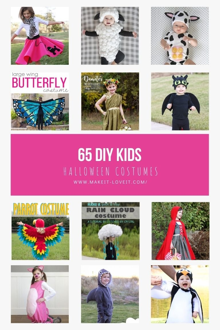 Collage photo of 65 diy kids halloween costumes