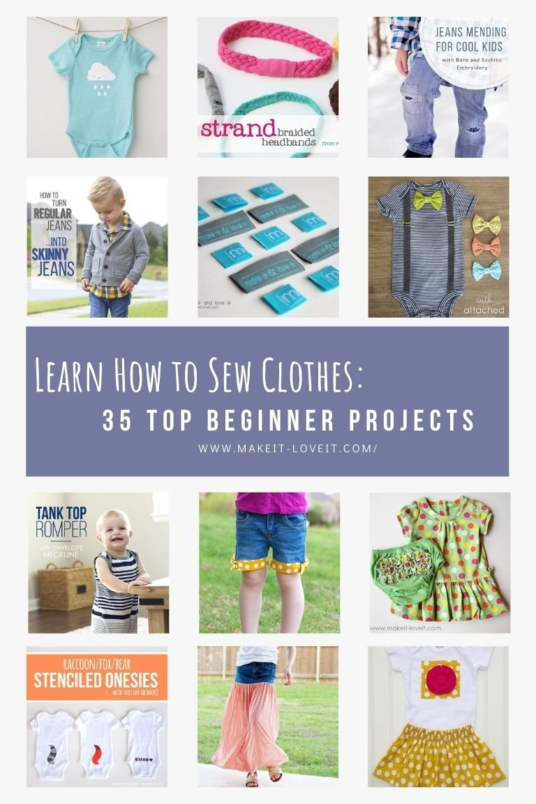 Collage photo of learn how to sew clothes 35 top beginner projects